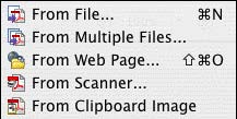Create PDF file drop-down menu
