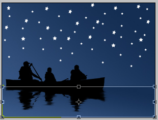 lake with a boat in a moon night in photoshop cs2