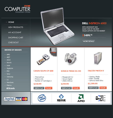 Computer Store Web Layout in Photoshop CS