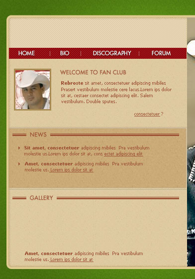Create Valentine Elizalde Fan Club Weblayout in Photoshop CS