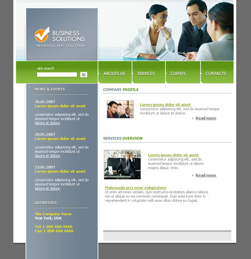Create Professional Web Layout for Business Solutions in  Photoshop CS
