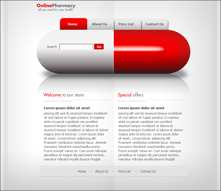 Modern online pharmacy web layout photoshop tutorials for Draw website layout online