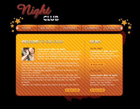 Create Web layout for Night Club web site in Photoshop CS