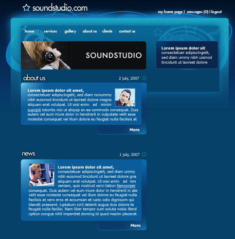 Create Sound System Studio Web Layout in Photoshop CS3