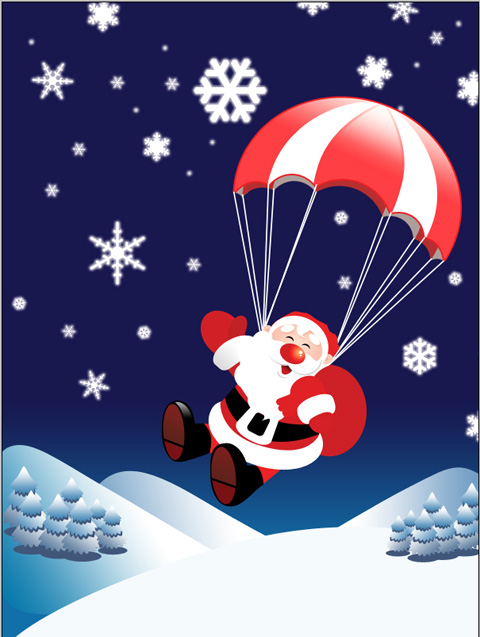 Create Flying Santa Claus with gifts in Photoshop CS3