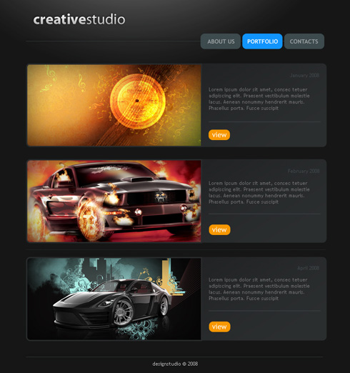 Create Creative Studio Web Page in Photoshop CS3