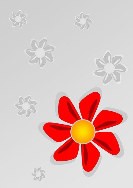 Red flower abstract background in Photoshop CS