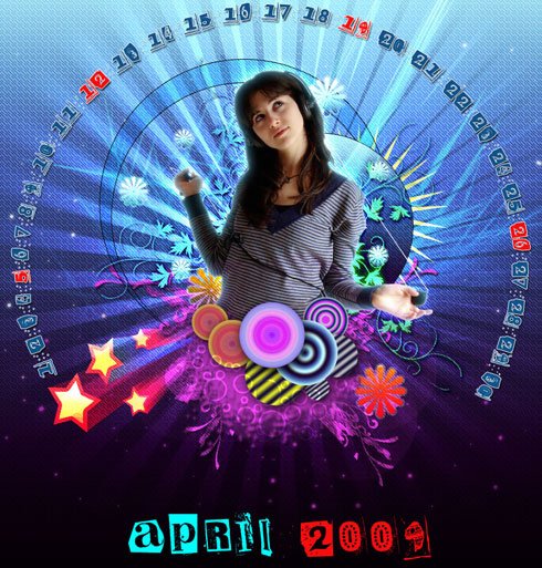 Making a cool and colorful April 2009 calendar wallpaper in Photoshop CS4