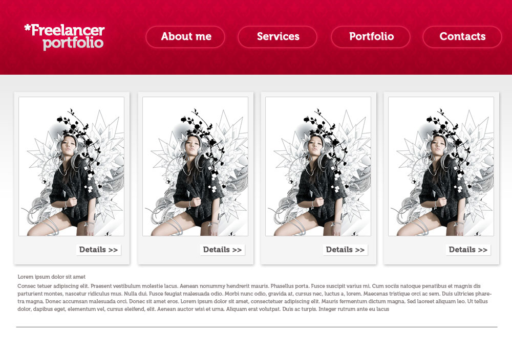 Create a designer portfolio web layout in Adobe Photoshop CS3
