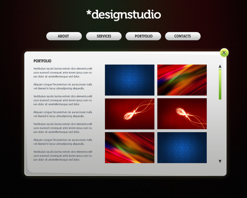 Create contemporary web layout for your design studio in Adobe Photoshop CS4