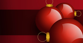 Design Christmas card with tree balls in Photoshop