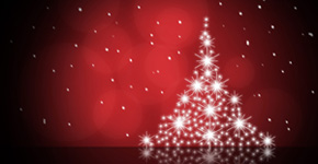 Create a Christmas Card – Christmas tree on red background