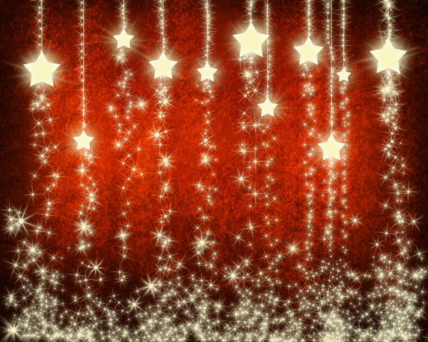 ... create Christmas background with snowflakes and stars in Photoshop CS5