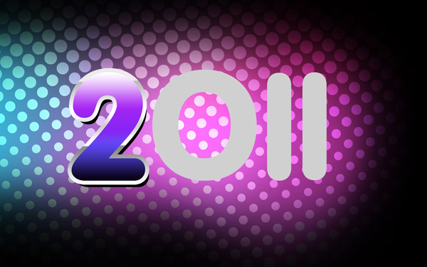 How to create a New Year 2011 colorful card in Adobe Photoshop CS5