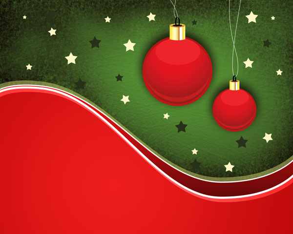 How to create holiday card with Christmas balls on the abstract background in Photoshop CS5