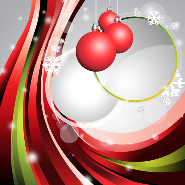 How to design an abstract Christmas illustration with colorful shapes and glass baubles in Adobe Photoshop CS5