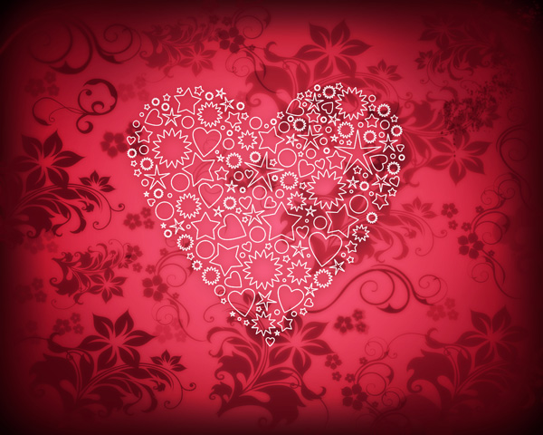 How to create elegant Valentine`s Day card with ornamental heart in Photoshop CS5