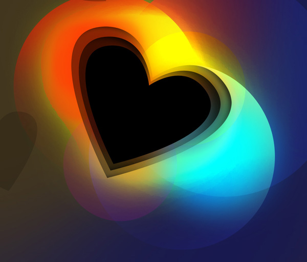 How to create Colorful Valentine's Day card with shining heart in Photoshop CS5