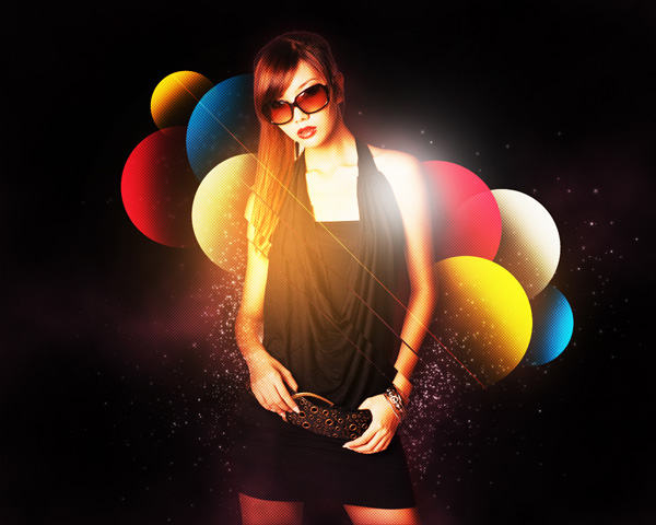 How to stylise model shoot using colourful shapes in Adobe Photoshop CS5