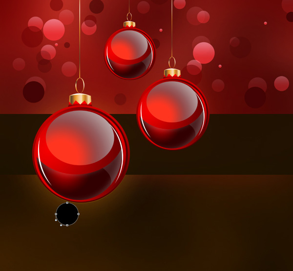 Create a Stunning Merry Christmas Background with Red Baubles for Greetings Card in Adobe Photoshop CS5
