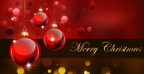 Create a Stunning Merry Christmas Background with Red Baubles for Greetings Card