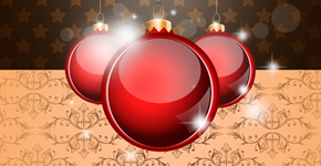 Create an Elegant Greeting Card with Vintage Christmas Baubles on Background in Photoshop CS5
