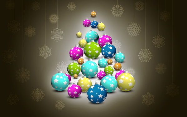 How to create Christmas greeting card with snowflakes and colorful tree baubles in Photoshop CS5