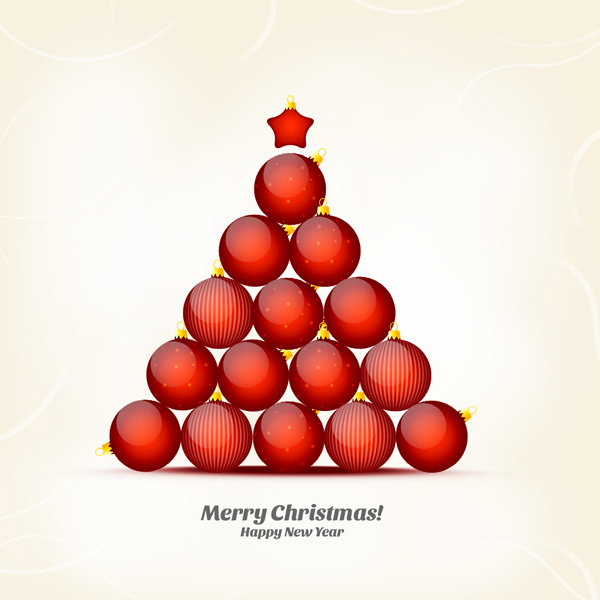 How To Create Christmas And New Year Greeting Card With Shiny Red Balls In Adobe Photoshop
