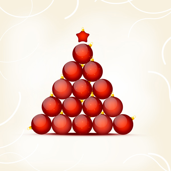 How to Create Christmas and New Year Greeting Card with Shiny Red Balls in Adobe Photoshop CS6