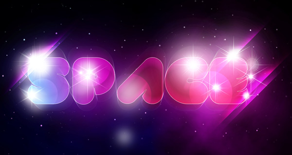 Create a Unique Glowing Text with Space Background in Adobe Photoshop CS5