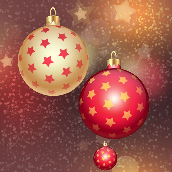 Christmas Design in Adobe Photoshop CS6 - Red and Gold Christmas Ball on Stars Background