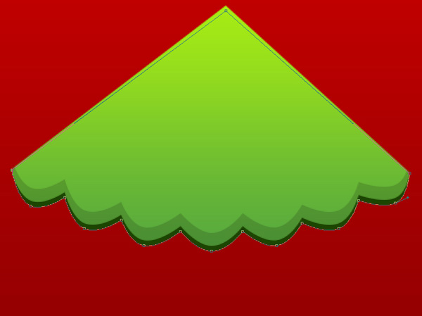 Christmas Greeting Card - Christmas Green Tree on Red Background in Adobe Photoshop CS6