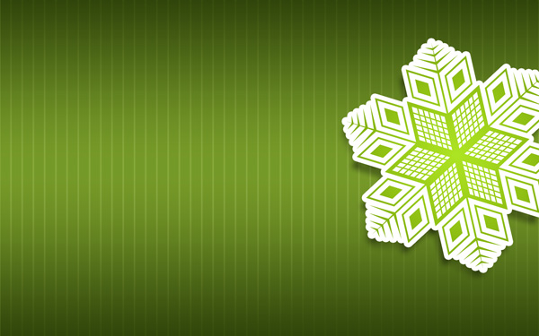 Merry Christmas Card – Paper Snowflakes on Green Background in Adobe Photoshop CS6