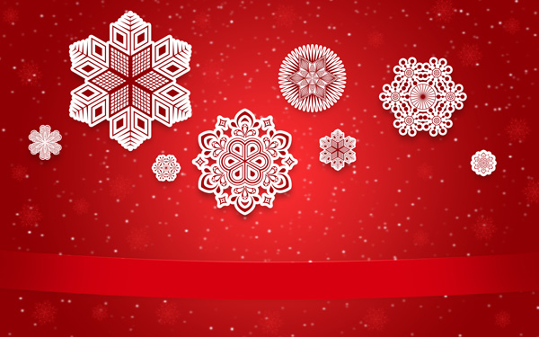 How to create Christmas Greeting Card with Decorative Snowflakes on Red Background in Adobe Photoshop CS6