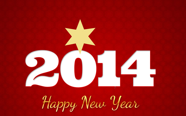 New Year Greeting Card - Golden Stars and Snowflakes on a Red Background in Adobe Photoshop CS6