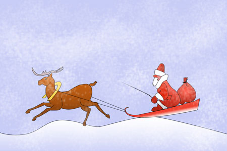 Santa Claus in a sledge in Photoshop CS