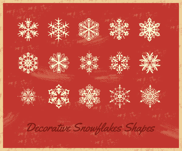 15 Decorative Snowflakes Shapes (CSH)