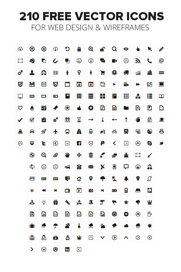 210 FREE VECTOR ICONS FOR WEB DESIGN & WIREFRAMES