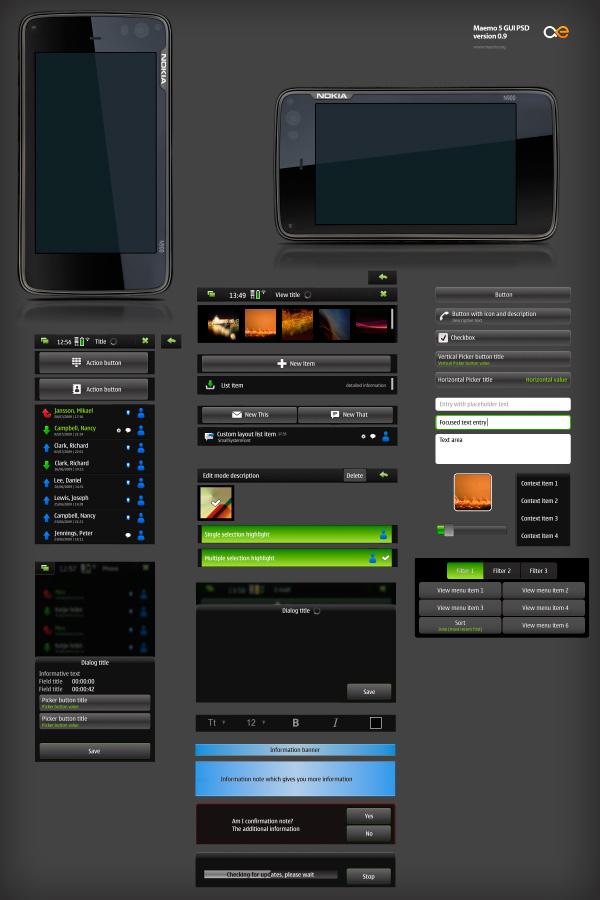 Maemo 5 GUI Design Template