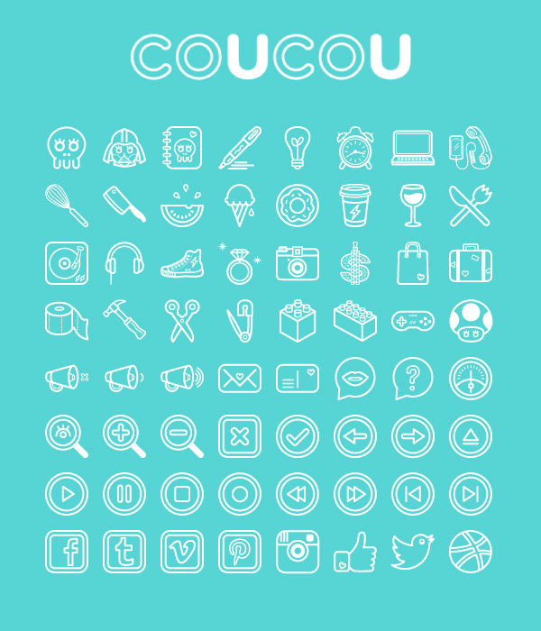 Coucou - set of 64 fun and quirky icons