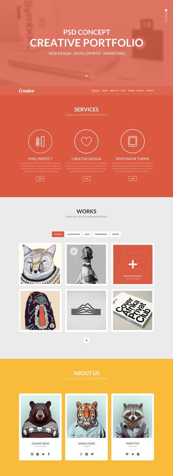 Creativo – Free One page PSD template | Photoshop ...