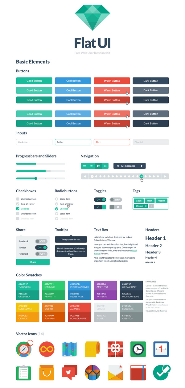 Flat UI Free – PSD&HTML User Interface Kit