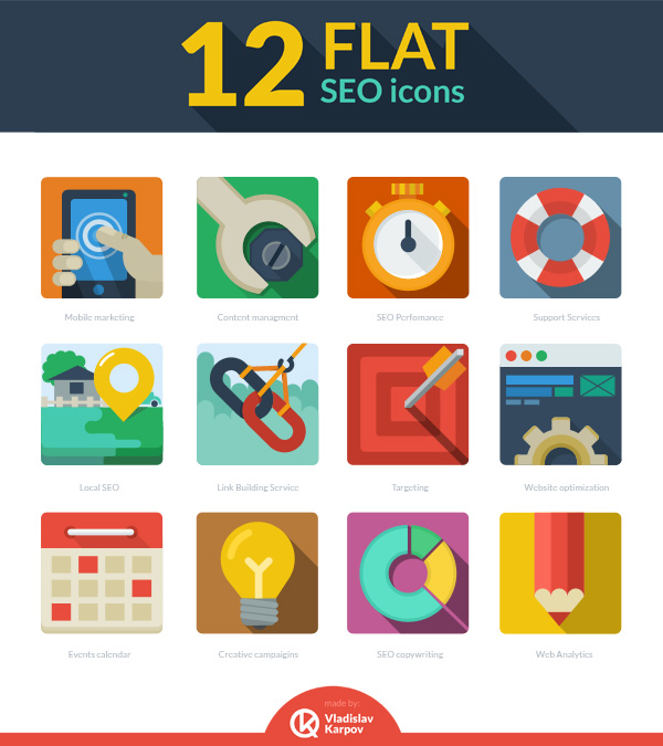 Free 12 Flat SEO icons
