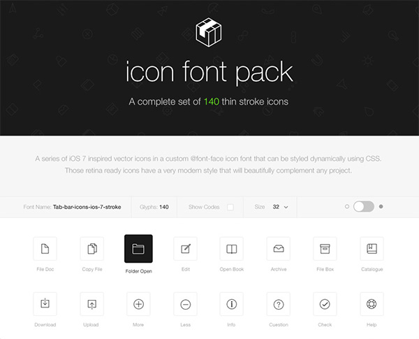 Free 140 thin stroke icons inspired by iOS 7