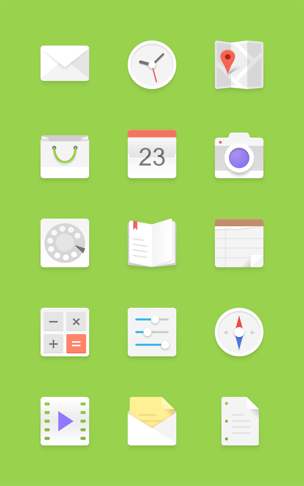 Free Light Android Icons Set PSD