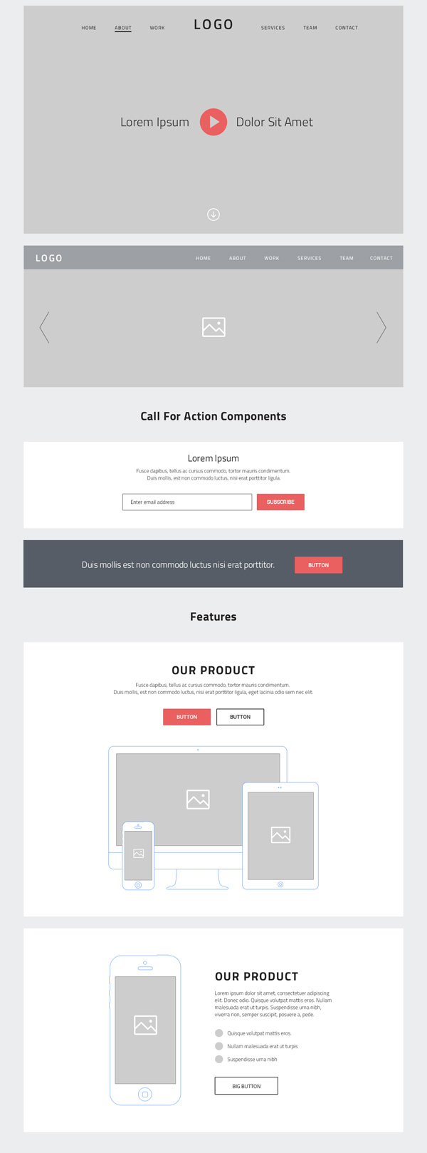 One Page Website Wireframes (PSD)