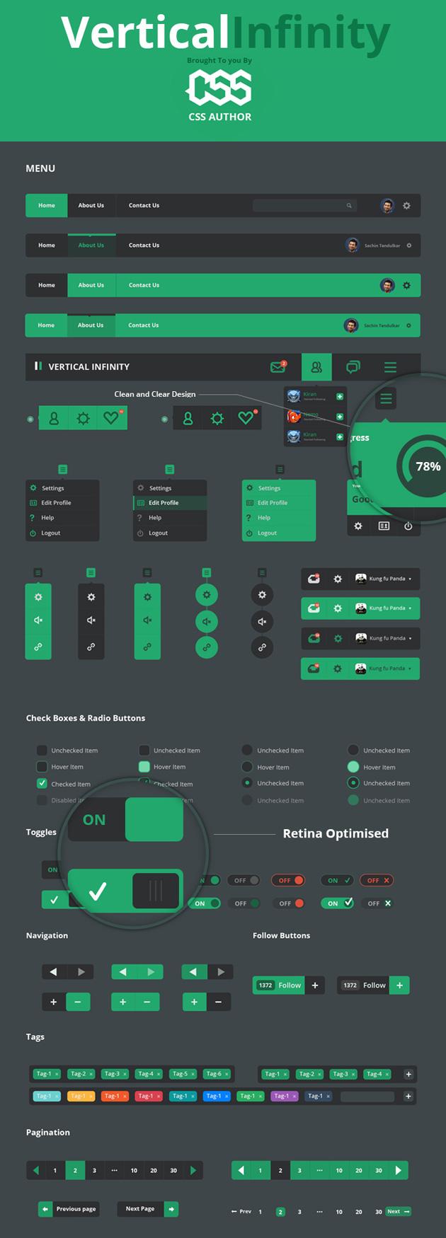 Vertical Infinity - A Mega Flat Style UI Kit PSD