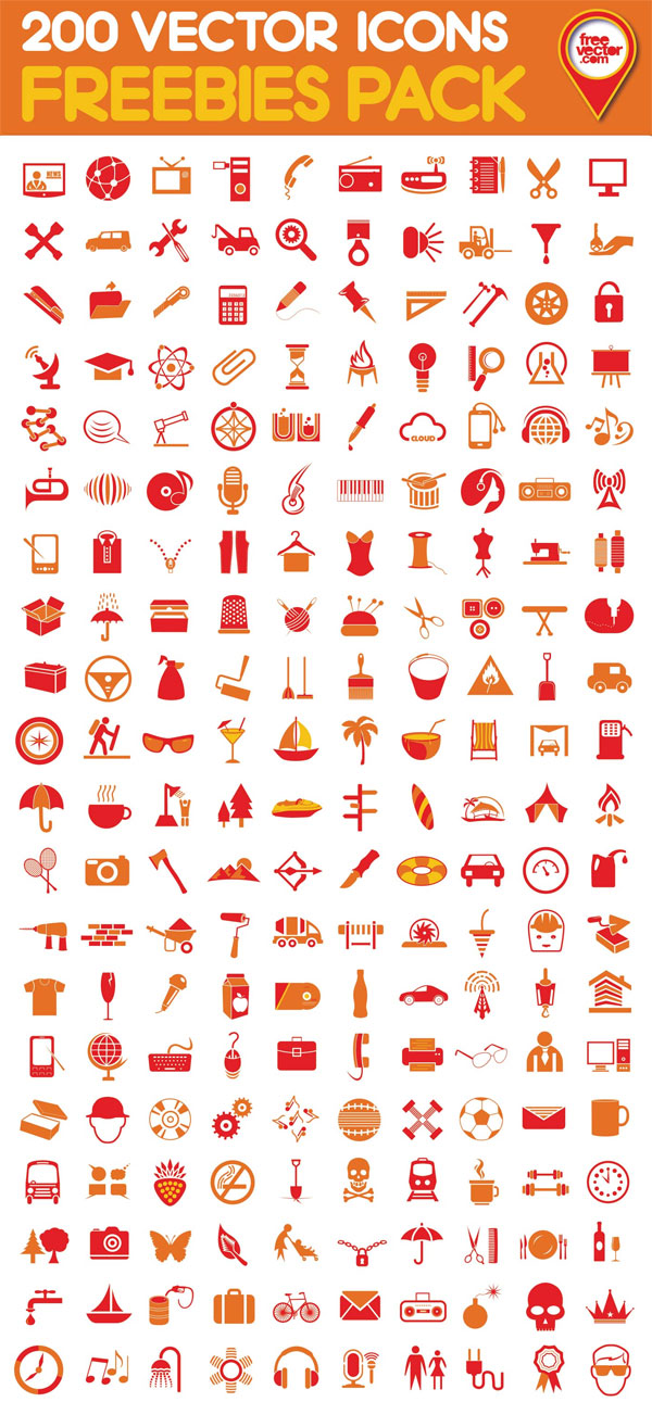 Freebies Pack - 200 Vector Icons
