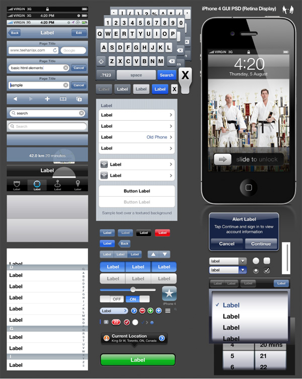iPhone 4 GUI PSD (Retina Display)