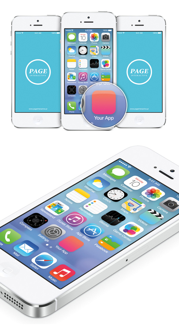 Ios 7 home screen free psd mock up photoshop tutorials for Ios splash screen template psd